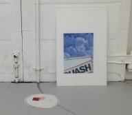 14:00 Installation - Acrylic on Plexiglass, Frosted Plexiglass, Newsprint 2017
